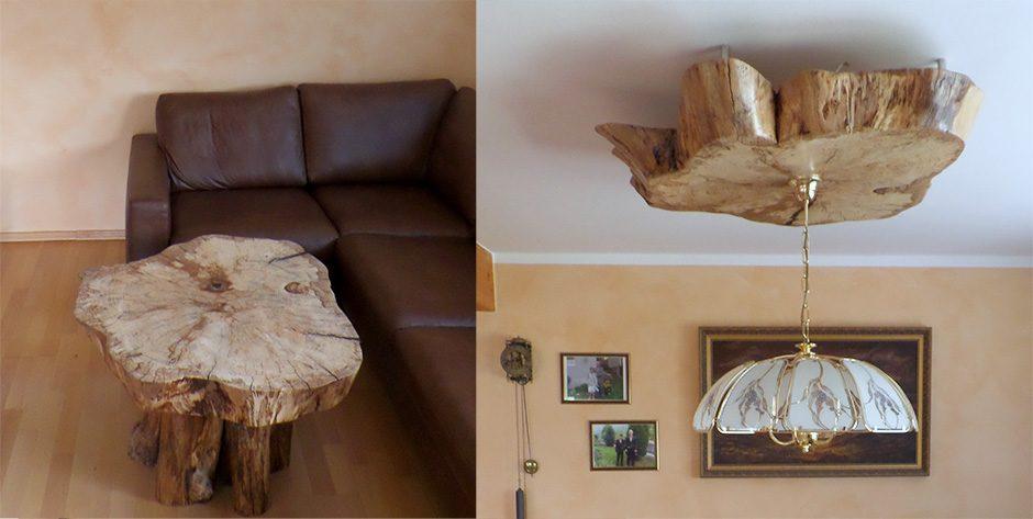 Couchtisch und Lampenmontur aus einem Baumstamm