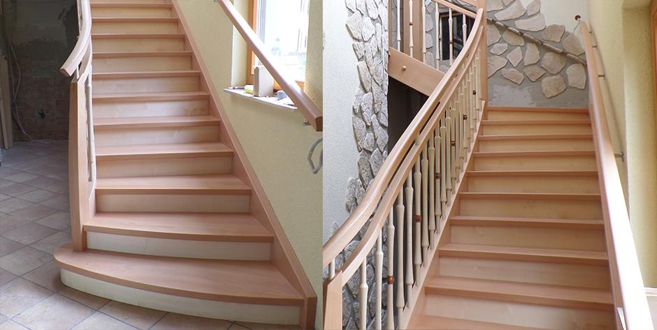 Zweiläufige Treppe in Buche gedämpft mit Ahon - Überblick