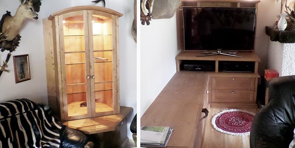 Rustikaler Wohnzimmerschrank und Wohnzimmerverbau Fichte