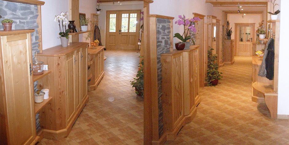 Vorzimmer aus Fichte kombiniert mit gebürsteter Lärche